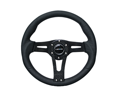 "320mm ""Sniper"" Black Leather Steering Wheel w/ Carbon Center Spoke ST-002RCF"