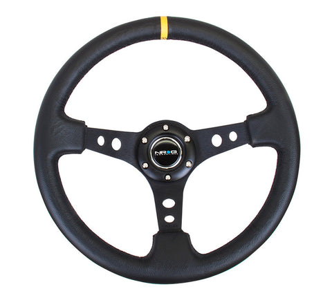 NRG RST-006BK-Y: 350mm Sport Steering Wheel Deep Dish Black- Yellow Center Marking