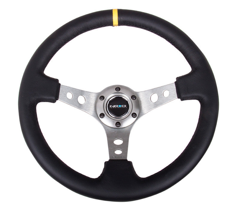 NRG RST-006GM-Y: 350mm Sport Steering Wheel Deep Dish Gunmetal- Yellow Center Marking - Drive NRG