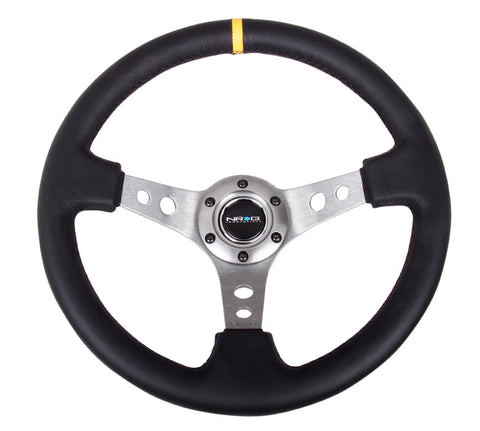 NRG RST-006GM-Y: 350mm Sport Steering Wheel Deep Dish Gunmetal- Yellow Center Marking