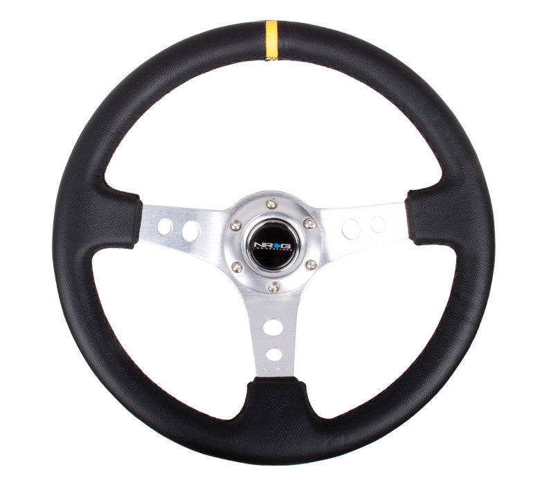 NRG RST-006SL-Y: 350mm Sport Steering Wheel Deep Dish Silver- Yellow Center Marking - Drive NRG