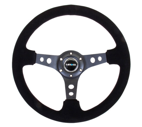 "NRG RST-006-S: 350mm Suede Sport Steering Wheel 3"" Deep Dish Black"