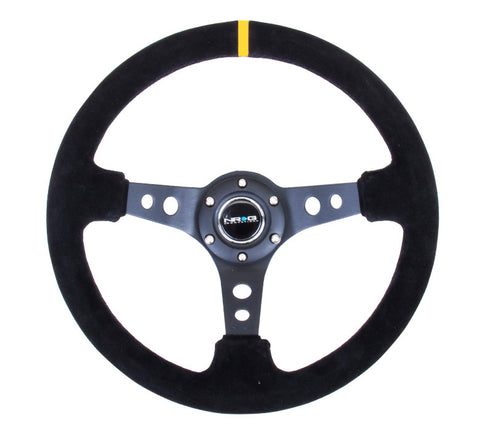"NRG RST-006S-Y: 350mm Suede Sport Steering Wheel Black 3"" Deep Dish Yellow Marking"