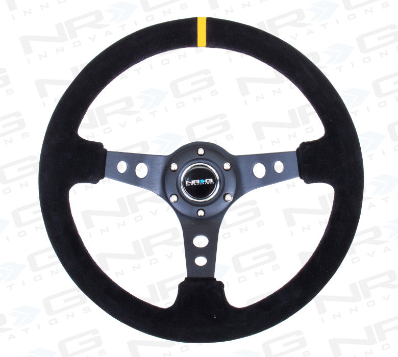 "350mm Sport Steering Wheel (3"" Deep) - Suede w/ yellow center marking (RST-006S-Y) - Drive NRG"