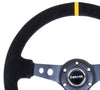 "NRG RST-006S-Y: 350mm Suede Sport Steering Wheel Black 3"" Deep Dish Yellow Marking - Drive NRG"