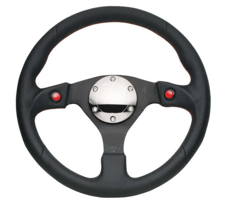 NRG RST-007R: 320mm Sport Steering Leather Wheel with Dual Buttons - Drive NRG