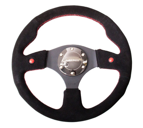 NRG RST-007S: 320mm Sport Steering Suede Wheel with Dual Buttons