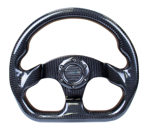 NRG ST-009CF/BK: 320mm Flat Bottom Carbon Fiber Black Steering Wheel