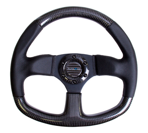 NRG ST-009CFBS: 320mm Flat Bottom Carbon Fiber Steering Wheel with Black Stitching