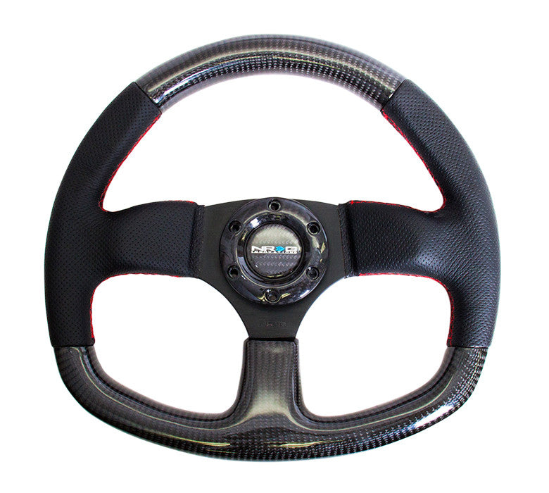 NRG Innovations ST-009CFRS Carbon Fiber Flat Bottom Steering Wheel with Red Stitching