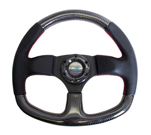 NRG ST-009CFRS: 320mm Flat Bottom Carbon Fiber Steering Wheel with Red Stitching