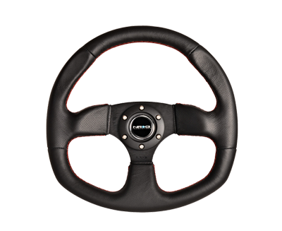 NRG RST-009R-RS: 320mm Race Style Leather Steering Wheel Red Stitching
