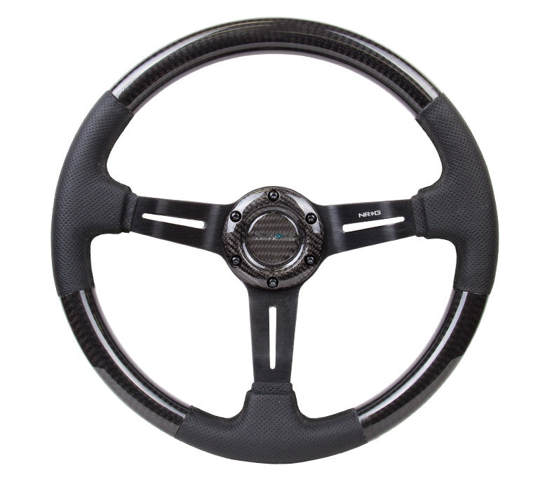 NRG Innovations ST-010CFBS 350mm Carbon Fiber Steering Wheel with Leather Accents and Black Stitching