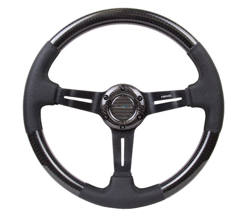 NRG ST-010CFBS: 350mm Carbon Fiber Steering Wheel with Leather