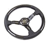 NRG Innovations ST-010CFBS 350mm Carbon Fiber Steering Wheel with Leather Accents and Black Stitching angled view