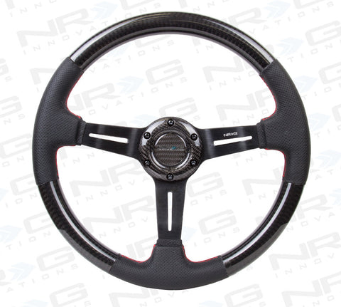 NRG ST-010CFRS: 350mm Carbon Fiber Steering Wheel with Leather
