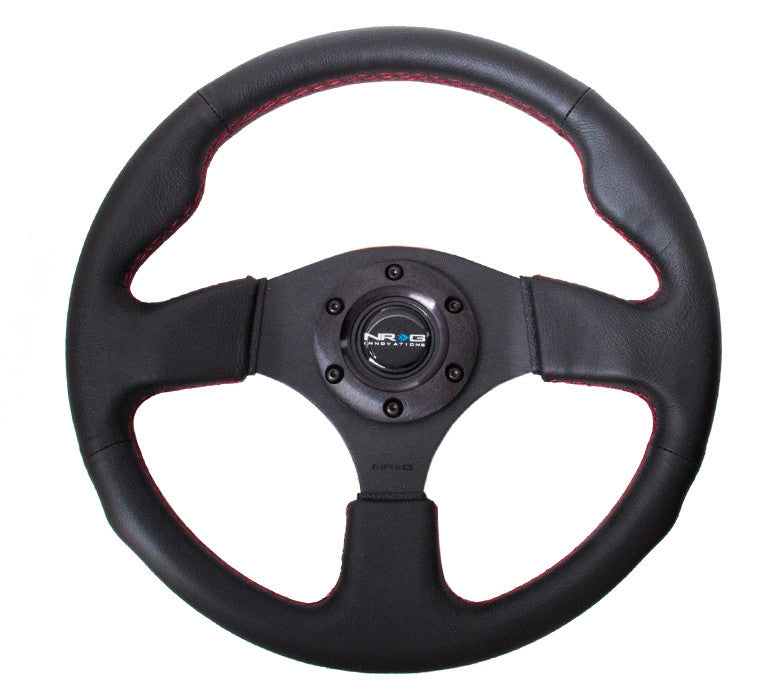 NRG 320mm Sport Leather Steering Wheel Red Stitching RST-012R-RS