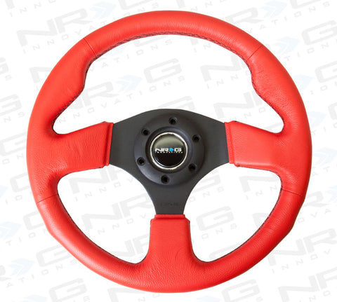 NRG 320mm Red Sport Leather Steering Wheel with Black Stitch ST-012RR-BS