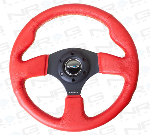NRG 320mm Red Sport Leather Steering Wheel with Yellow Stitch ST-012RR-YS