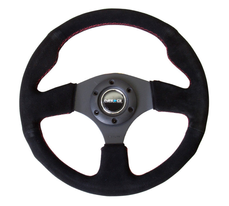 NRG RST-012S-RS: 320mm Race Style Suede Steering Wheel with Red Stitch - Drive NRG