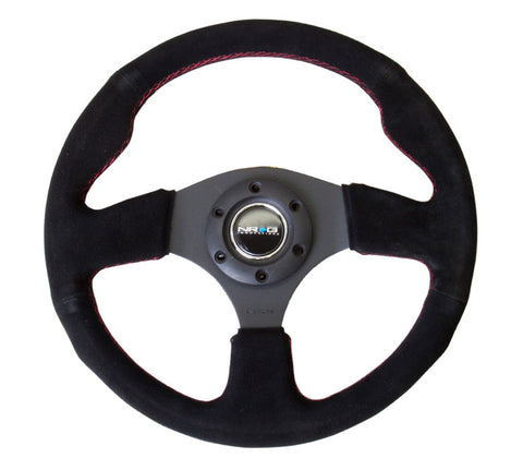 NRG RST-012S-RS: 320mm Race Style Suede Steering Wheel with Red Stitch