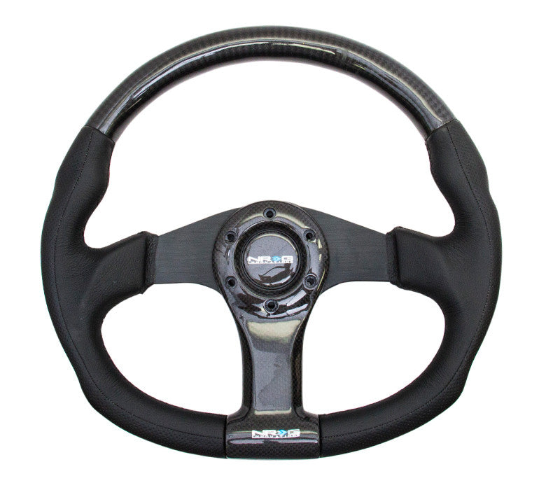 NRG ST-013CFBK: 350mm Carbon Fiber Steering Wheel Flat Bottom with Black Stitching - Drive NRG