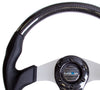 NRG ST-013CFSL: 350mm Carbon Fiber Steering Wheel Flat Bottom with Silver Center - Drive NRG