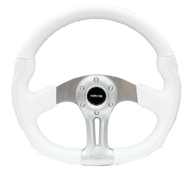 "NRG ST-013WT: 350mm ""Storm Trooper"" Sport White Leather with white stitching Steering Wheel Oval - Drive NRG"