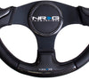 NRG ST-014CFBK: 350mm Carbon Fiber Steering Wheel Black Frame Black Stitching w/ Rubber Cover Horn Button