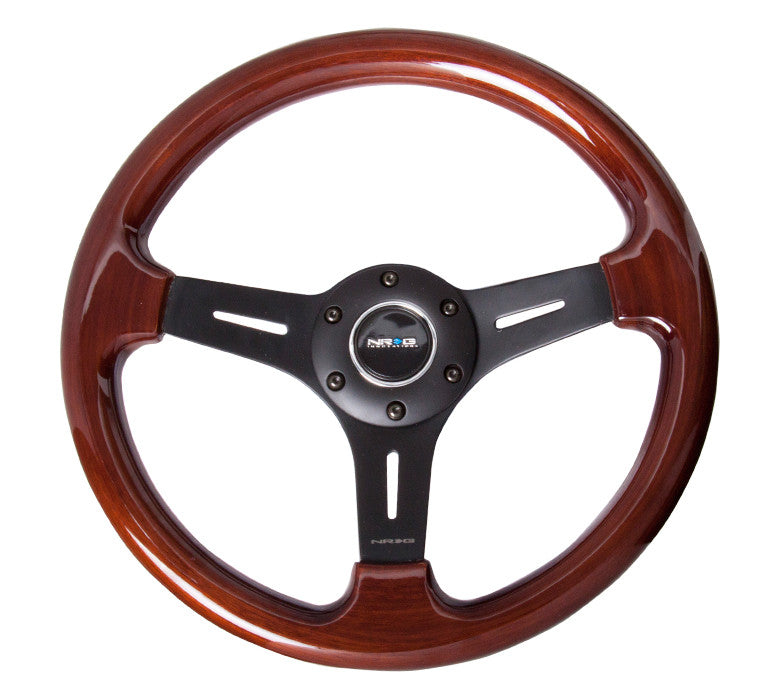 NRG ST-015-1BK: Classic Wood Grain Wheel, 330mm, 3 spoke center in matte black - Drive NRG