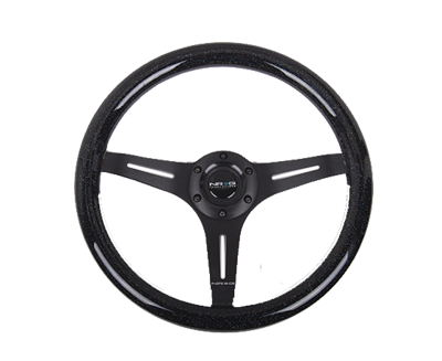 Galaxy Classic Wood Grain Wheel 350mm 3 Black Spokes-Black Sparkled Color ST-015BK-BSB - Drive NRG
