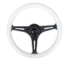 NRG ST-015BK-GL/BL: Classic Luminor White Wood Grain Wheel Black Spoke Blue Glow - Drive NRG