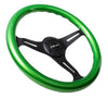 NRG ST-015BK-GN: Classic Wood Grain Wheel, 350mm, 3 spoke center in black - Green