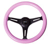 NRG ST-015BK-PK: Classic Wood Grain Wheel, 350mm, 3 spoke center in black - Pink - Drive NRG