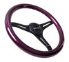 NRG ST-015BK-PP: Classic Wood Grain Wheel, 350mm, 3 spoke center in black - Purple - Drive NRG