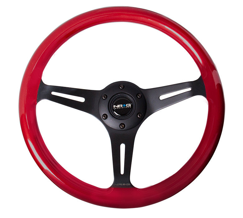 NRG ST-015BK-RD: Classic Wood Grain Wheel, 350mm, 3 spoke center in black - Red - Drive NRG