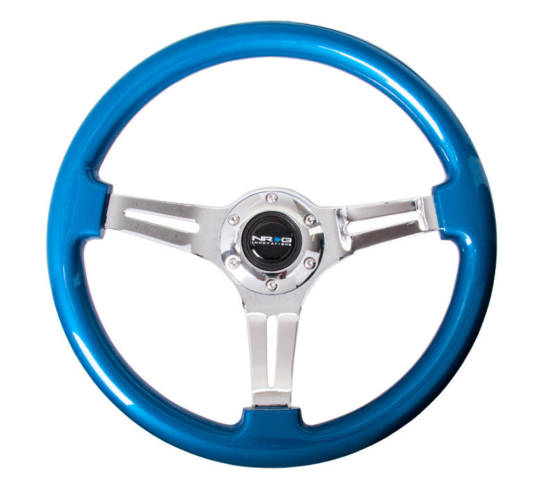 NRG ST-015CH-BL: Classic Wood Grain Wheel, 350mm, 3 spoke center in chrome - Blue