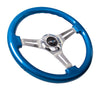 NRG ST-015CH-BL: Classic Wood Grain Wheel, 350mm, 3 spoke center in chrome - Blue - Drive NRG