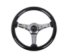 Galaxy Classic Wood Grain Wheel 350mm 3 Chrome Spokes-Black Sparkled Color ST-015CH-BSB - Drive NRG