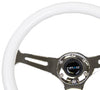 NRG ST-015CH-GL/BL: Classic Luminor White Wood Grain Wheel Chrome Spoke Blue Glow - Drive NRG