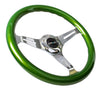 NRG ST-015CH-GN: Classic Wood Grain Wheel, 350mm, 3 spoke center in chrome - Green - Drive NRG