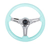 NRG ST-015CH-MF: Minty-Fresh Wood Grain Wheel 350mm, 3 Solid spoke center in Chrome - Drive NRG