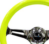 NRG ST-015CH-NYW: 350mm Neon Yellow Wood Grain Wheel Chrome Spoke - Drive NRG