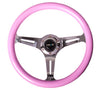 NRG ST-015CH-PK: Classic Wood Grain Wheel, 350mm, 3 spoke center in chrome - Pink - Drive NRG
