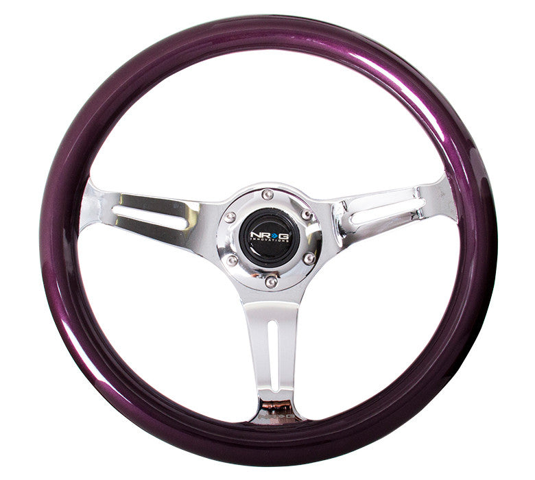 NRG ST-015CH-PP: Classic Wood Grain Wheel, 350mm, 3 spoke center in chrome - Purple