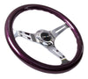 NRG ST-015CH-PP: Classic Wood Grain Wheel, 350mm, 3 spoke center in chrome - Purple - Drive NRG