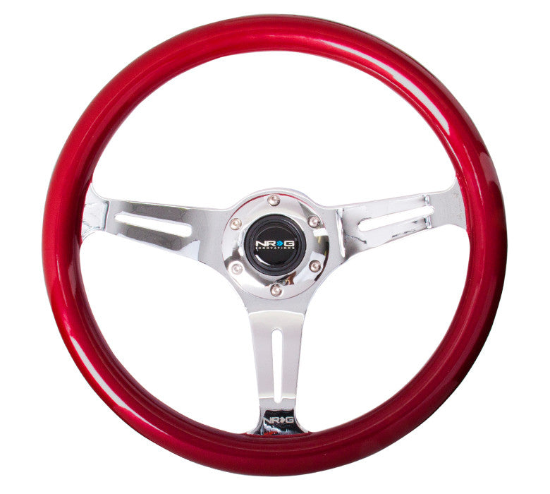 NRG ST-015CH-RD: Classic Wood Grain Wheel, 350mm, 3 spoke center in chrome - Red