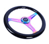 NRG ST-015MC-BK: Classic Wood Grain Wheel, 350mm, Black colored wood, 3 spoke center in Neochrome - Drive NRG