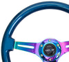 NRG ST-015MC-BL: Classic Wood Grain Wheel, 350mm, Blue colored wood, 3 spoke center in Neochrome - Drive NRG