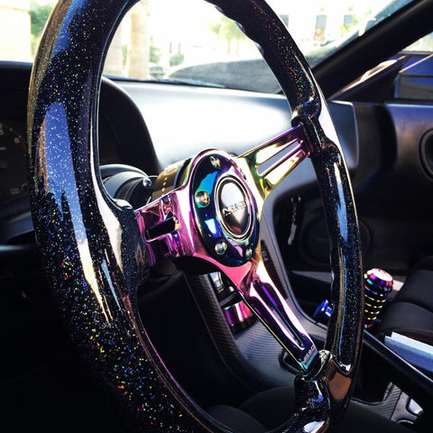 Galaxy Classic Wood Grain Wheel 350mm 3 Neochrome Spokes-Black Sparkled Color